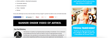 Banner onder een video of artikel
